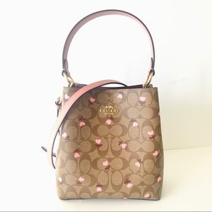 Coach Small Bucket Bag Heart Floral Brown Purse